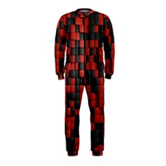 Black Red Tiles Checkerboard Onepiece Jumpsuit (kids)