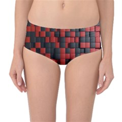 Black Red Tiles Checkerboard Mid Waist Bikini Bottoms