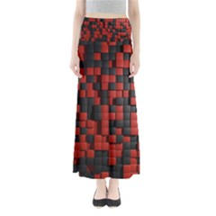 Black Red Tiles Checkerboard Full Length Maxi Skirt
