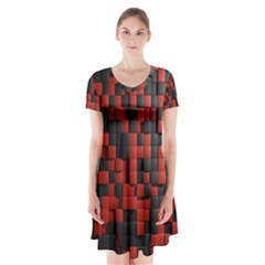 Black Red Tiles Checkerboard Short Sleeve V Neck Flare Dress