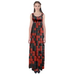 Black Red Tiles Checkerboard Empire Waist Maxi Dress
