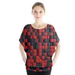 Black Red Tiles Checkerboard Blouse