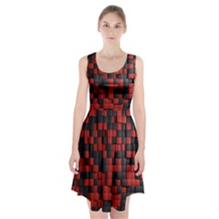 Black Red Tiles Checkerboard Racerback Midi Dress