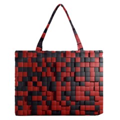 Black Red Tiles Checkerboard Medium Zipper Tote Bag