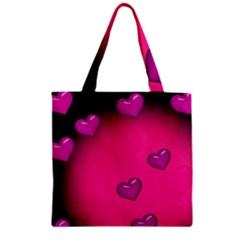 Background Heart Valentine S Day Zipper Grocery Tote Bag by BangZart