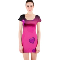 Background Heart Valentine S Day Short Sleeve Bodycon Dress