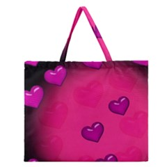 Background Heart Valentine S Day Zipper Large Tote Bag by BangZart