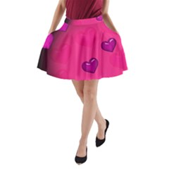 Background Heart Valentine S Day A Line Pocket Skirt