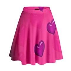 Background Heart Valentine S Day High Waist Skirt