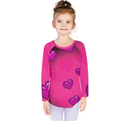 Background Heart Valentine S Day Kids  Long Sleeve Tee