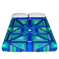 Grid Geometric Pattern Colorful Fitted Sheet (california King Size)