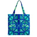 Grid Geometric Pattern Colorful Zipper Grocery Tote Bag View1