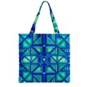 Grid Geometric Pattern Colorful Zipper Grocery Tote Bag View2