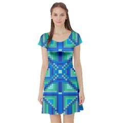 Grid Geometric Pattern Colorful Short Sleeve Skater Dress