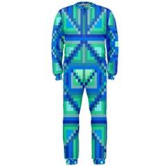 Grid Geometric Pattern Colorful Onepiece Jumpsuit (men)  by BangZart