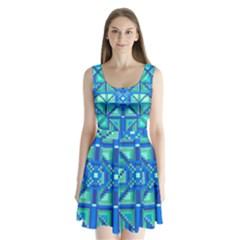 Grid Geometric Pattern Colorful Split Back Mini Dress