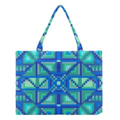 Grid Geometric Pattern Colorful Medium Tote Bag