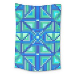 Grid Geometric Pattern Colorful Large Tapestry