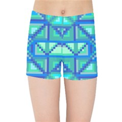 Grid Geometric Pattern Colorful Kids Sports Shorts