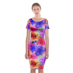 Floral Pattern Background Seamless Classic Short Sleeve Midi Dress