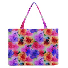Floral Pattern Background Seamless Medium Zipper Tote Bag