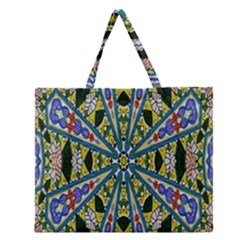 Kaleidoscope Background Zipper Large Tote Bag by BangZart