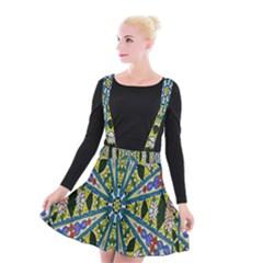 Kaleidoscope Background Suspender Skater Skirt