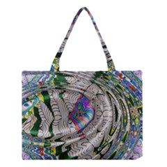 Water Ripple Design Background Wallpaper Of Water Ripples Applied To A Kaleidoscope Pattern Medium Tote Bag by BangZart