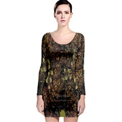 Wallpaper With Fractal Small Flowers Long Sleeve Bodycon Dress