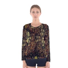 Wallpaper With Fractal Small Flowers Women s Long Sleeve Tee
