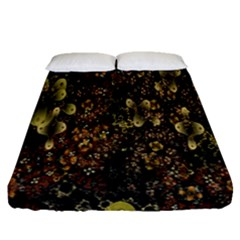 Wallpaper With Fractal Small Flowers Fitted Sheet (queen Size)