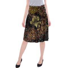 Wallpaper With Fractal Small Flowers Midi Beach Skirt