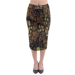 Wallpaper With Fractal Small Flowers Midi Pencil Skirt