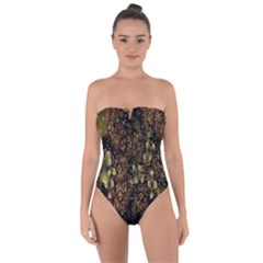 Wallpaper With Fractal Small Flowers Tie Back One Piece Swimsuit