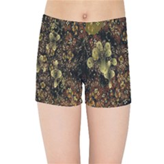 Wallpaper With Fractal Small Flowers Kids Sports Shorts