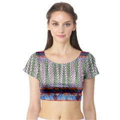 Nature Pattern Background Wallpaper Of Leaves And Flowers Abstract Style Short Sleeve Crop Top (tight Fit)
