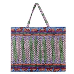 Nature Pattern Background Wallpaper Of Leaves And Flowers Abstract Style Zipper Large Tote Bag by BangZart