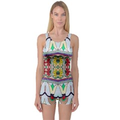Kaleidoscope Background  Wallpaper One Piece Boyleg Swimsuit