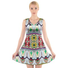 Kaleidoscope Background  Wallpaper V Neck Sleeveless Skater Dress