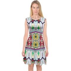 Kaleidoscope Background  Wallpaper Capsleeve Midi Dress