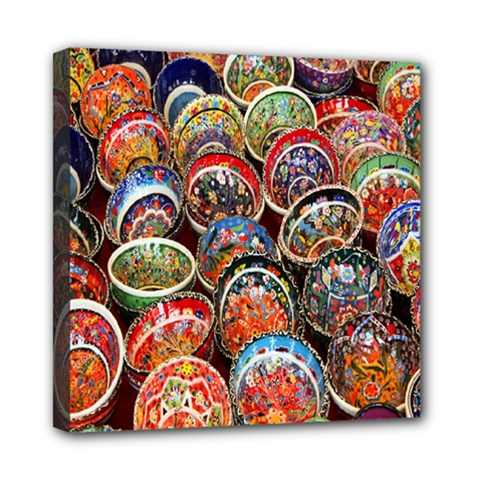 Colorful Oriental Bowls On Local Market In Turkey Mini Canvas 8  X 8  by BangZart