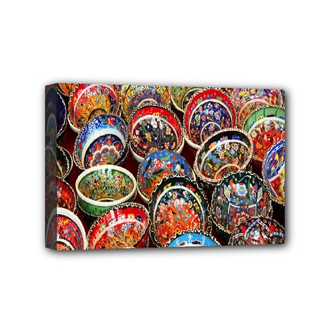 Colorful Oriental Bowls On Local Market In Turkey Mini Canvas 6  X 4  by BangZart