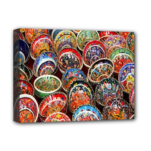 Colorful Oriental Bowls On Local Market In Turkey Deluxe Canvas 16  X 12