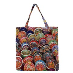 Colorful Oriental Bowls On Local Market In Turkey Grocery Tote Bag by BangZart