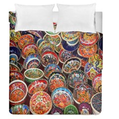 Colorful Oriental Bowls On Local Market In Turkey Duvet Cover Double Side (queen Size)
