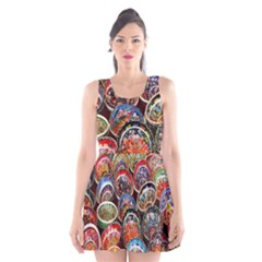 Colorful Oriental Bowls On Local Market In Turkey Scoop Neck Skater Dress by BangZart