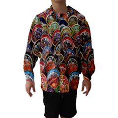 Colorful Oriental Bowls On Local Market In Turkey Hooded Wind Breaker (kids)