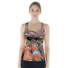 Colorful Oriental Bowls On Local Market In Turkey Racer Back Sports Top