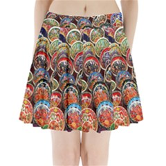 Colorful Oriental Bowls On Local Market In Turkey Pleated Mini Skirt