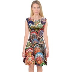Colorful Oriental Bowls On Local Market In Turkey Capsleeve Midi Dress